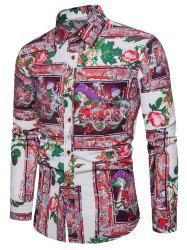 Flower Printing Long Sleeve Shirt -