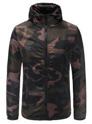 Casual Camouflage Print Hooded Jacket -