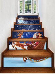 Christmas Santa with Sleigh and Reindeer Print Decorative Stair Stickers -