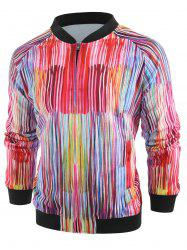 Colorful Line Print Zip Up Jacket -