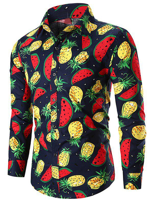 Outfit Button Up Watermelon and  Pineapple Print Shirt