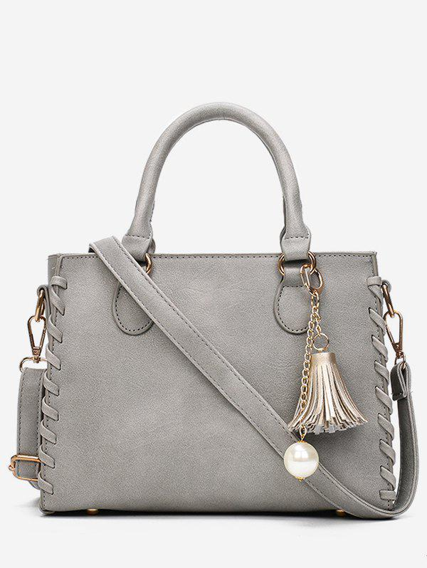 Hot Whipstitch Faux Pearl Tassel Handbag