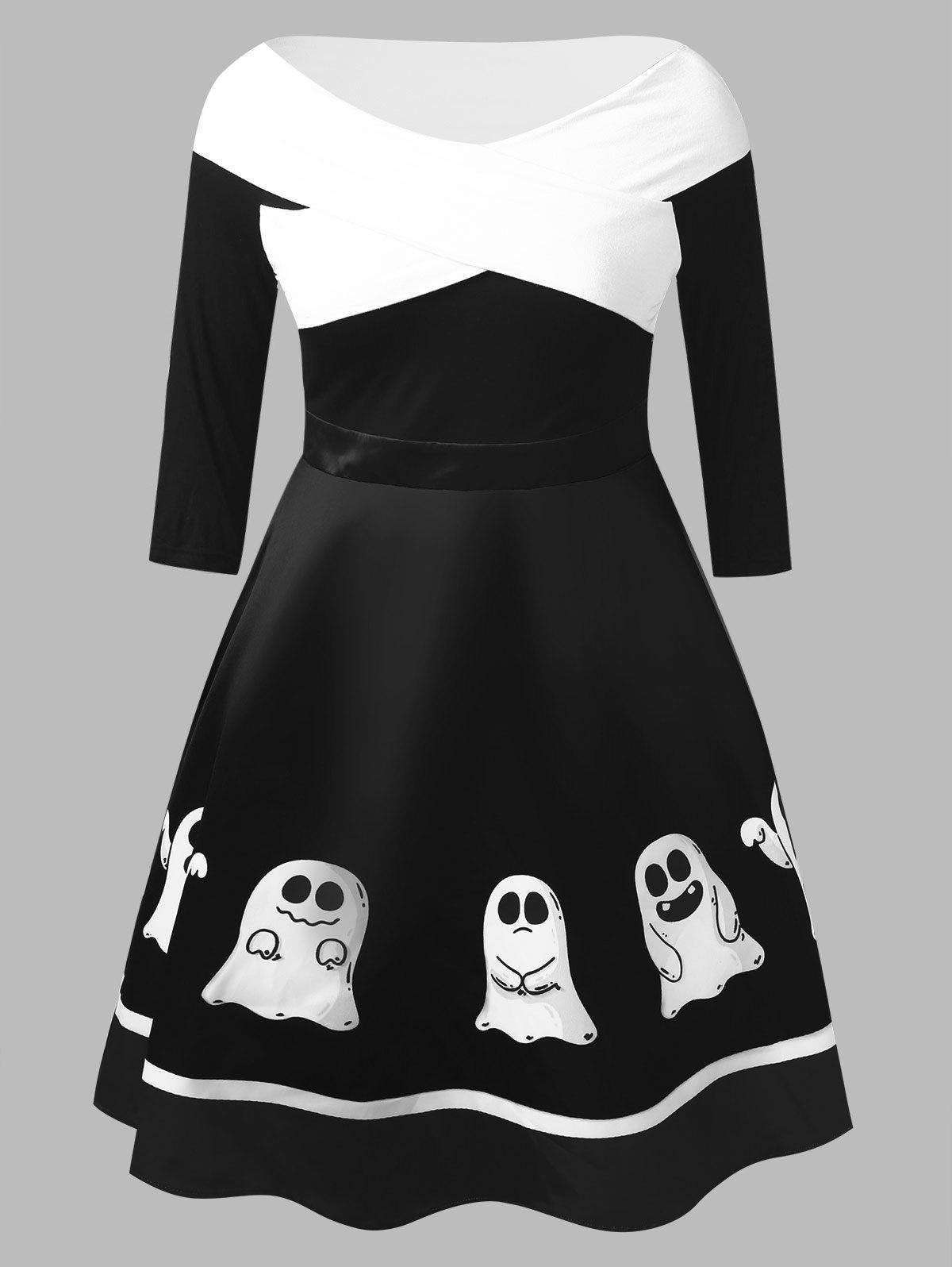 Online Plus Size Ghost Print Halloween Flare Dress