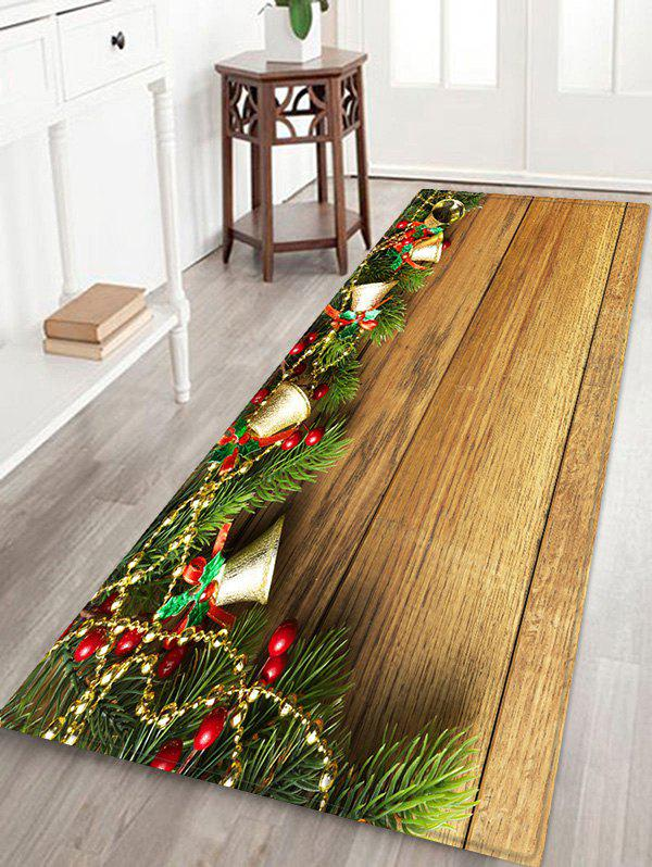 Unique Christmas Jingle Bell and Board Print Waterproof Floor Mat