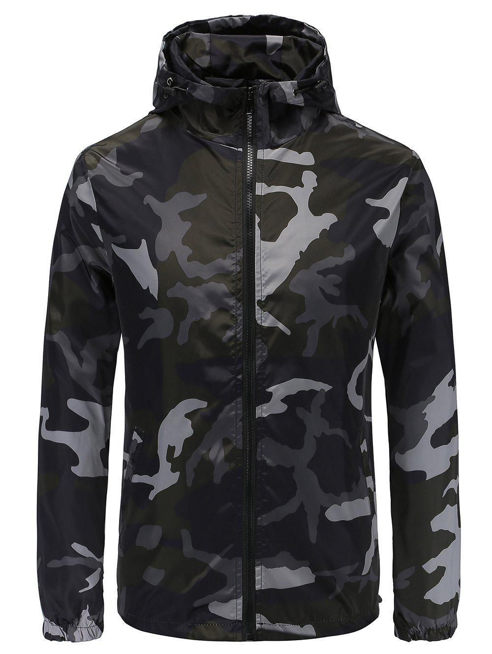 Latest Casual Camouflage Print Hooded Jacket