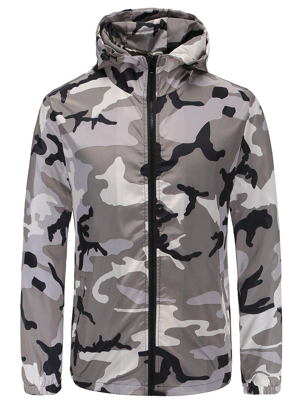 6f4d107af62c 31% OFF   2019 Casual Camouflage Print Hooded Jacket