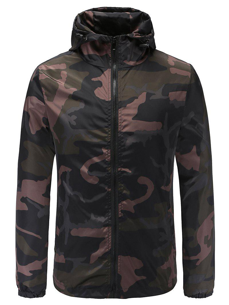 Trendy Casual Camouflage Print Hooded Jacket