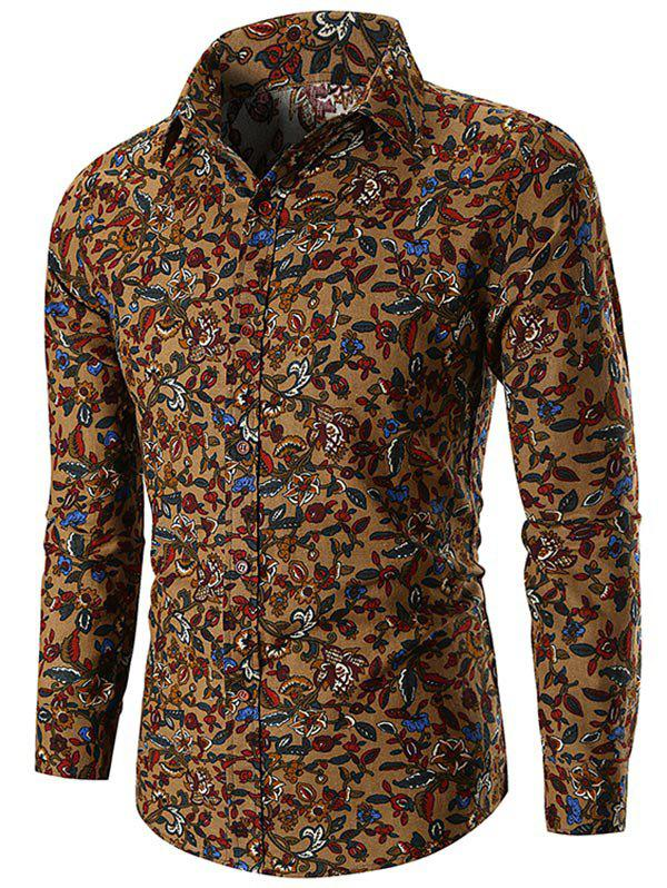 New Ethnic Flower Print Button Up Shirt