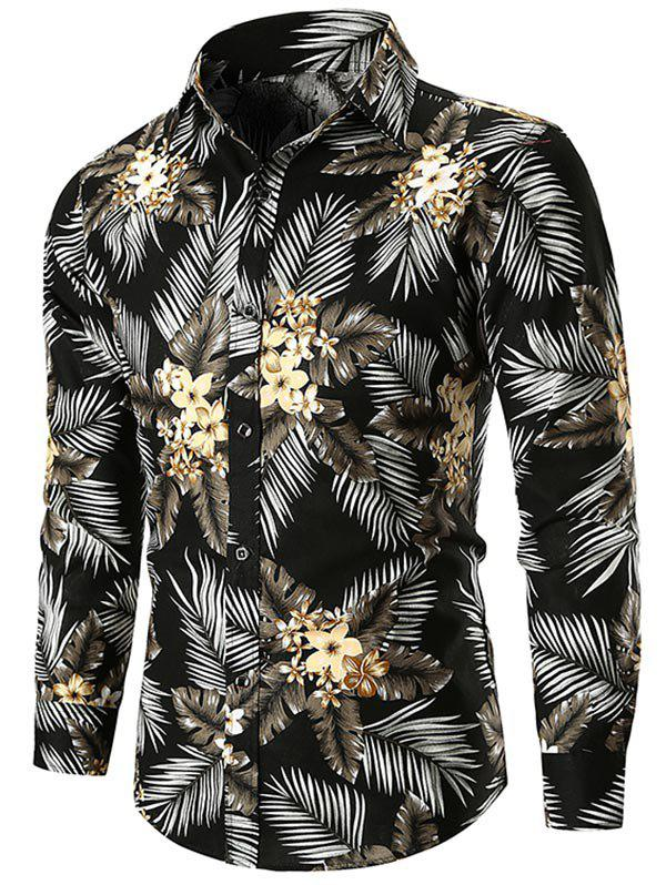 Unique Flower and Leaves Print Button Up Shirt