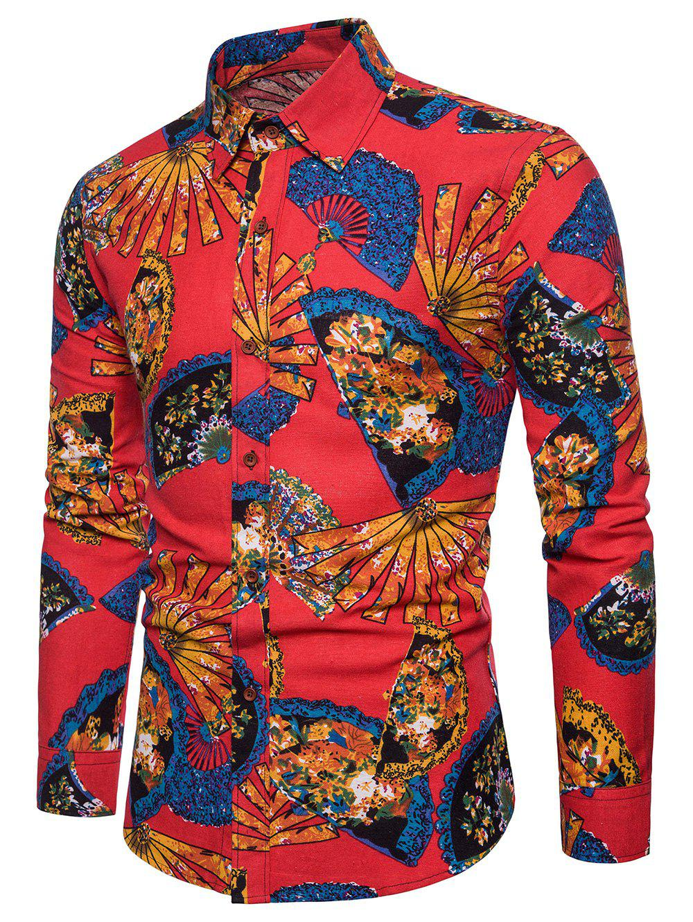 Trendy Fanshaped Printed Button Up Shirt