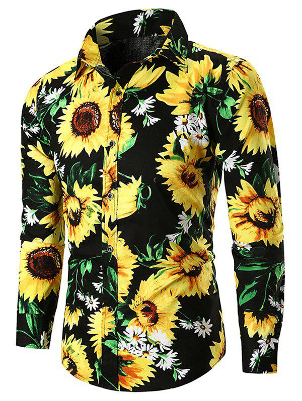 Fancy Sunflower Print Casual Shirt
