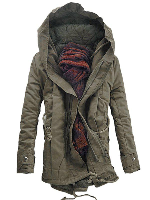 Sale Hooded Padded Double Zip Up Casual Parka Coat