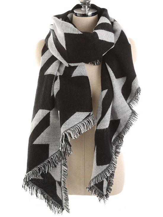 Houndstooth Pattern Fringed Soft Scarf