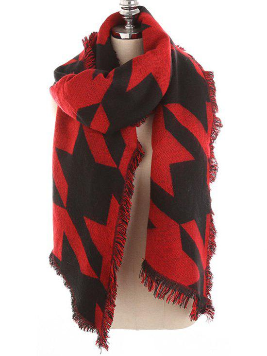 Discount Houndstooth Pattern Fringed Soft Scarf