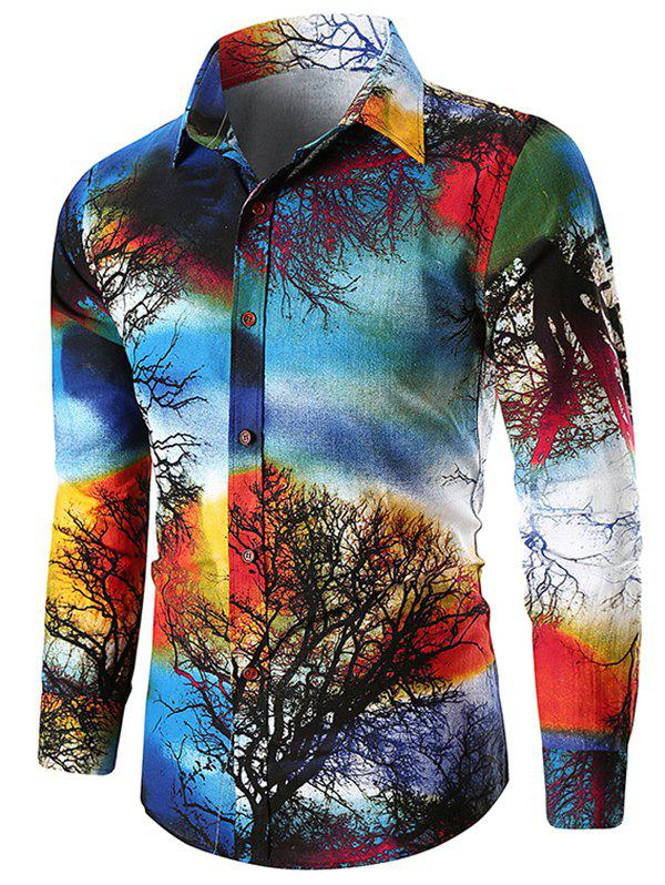 Affordable Paint Tree Print Button Up Shirt