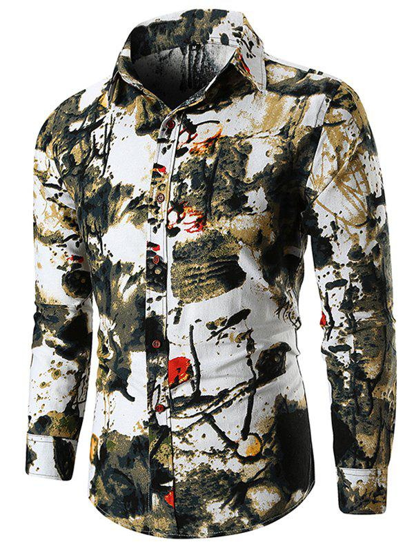Fashion Long Sleeve Ink Painting Shirt
