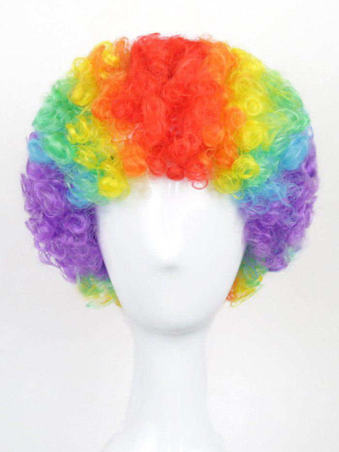 Latest Halloween Christmas Party Short Afro Curly Rainbow Synthetic Wig