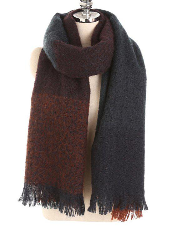 Online Winter Fringed Color Splice Soft Scarf
