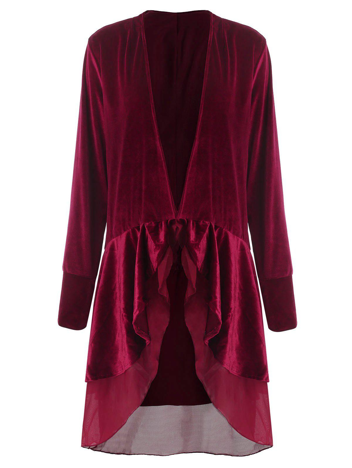 Shop Stylish Long Sleeve Swingy Velvet Women's Coat