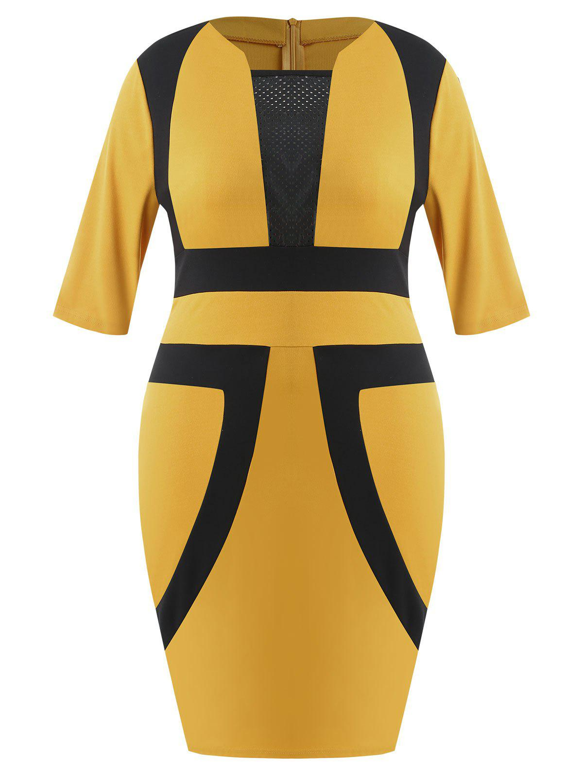 Chic Plus Size Color Block Bodycon Dress