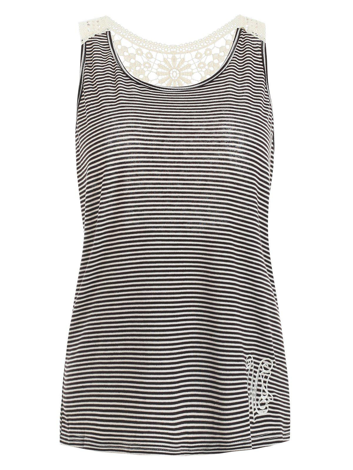Stylish Scoop Neck Lace Splicing Striped Embroidery Tank Top For Women, Gray