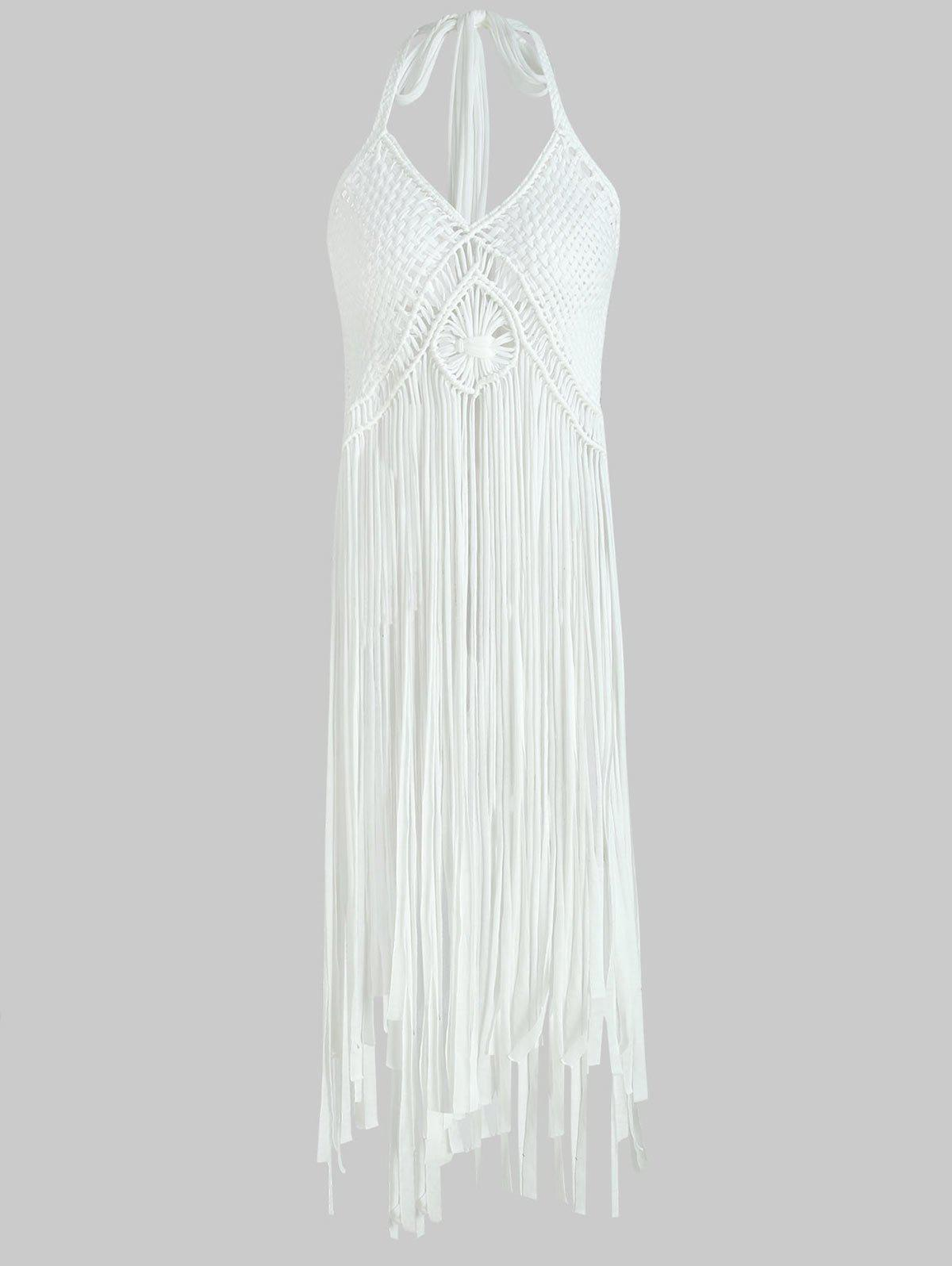 Buy Fringe Halter Crochet Tank Top