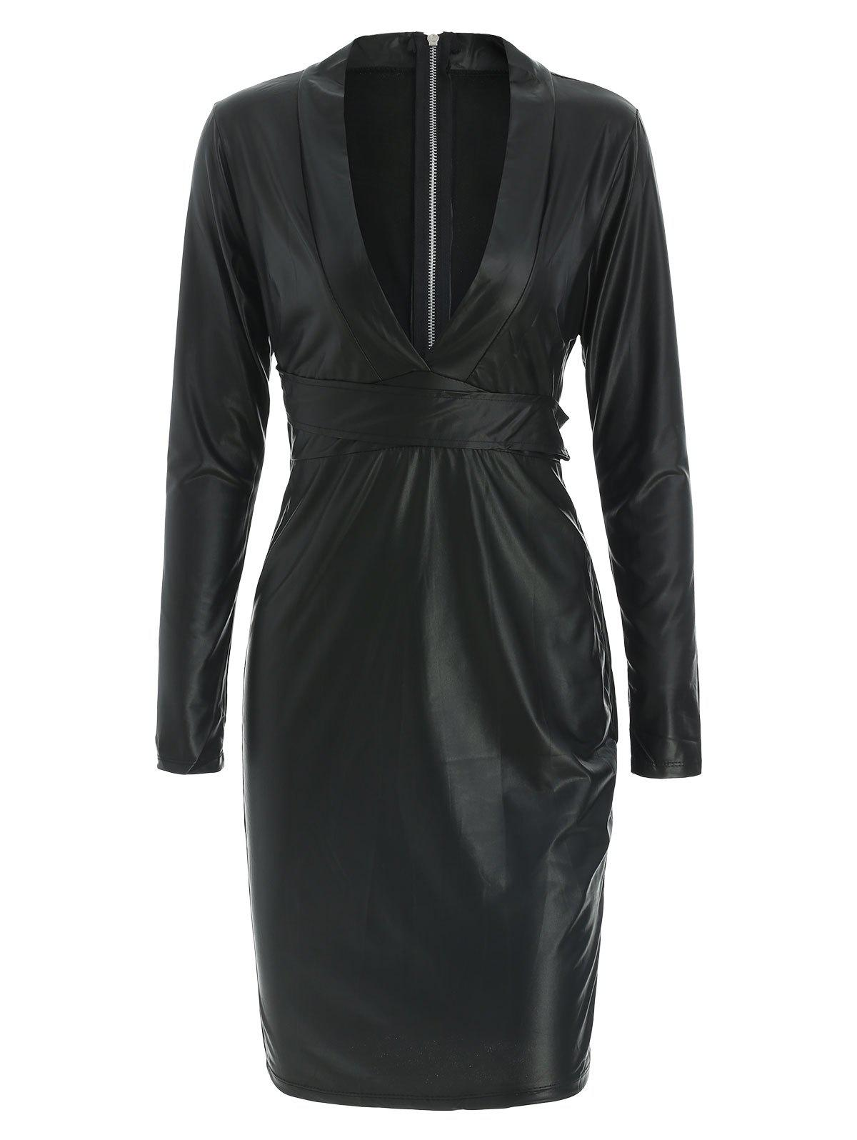 Unique Plunging Neck Faux Leather Long Sleeve Bandage Dress