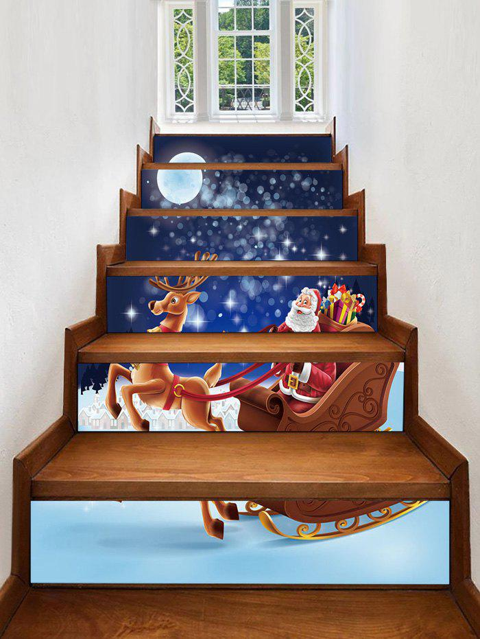 Shop Christmas Santa with Sleigh and Reindeer Print Decorative Stair Stickers