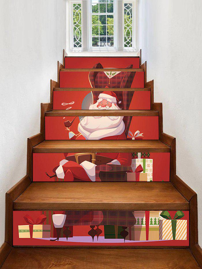 Store Christmas Santa Claus Gifts Pattern Decorative Stair Stickers