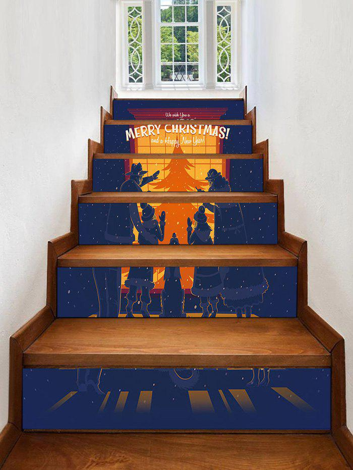 Shop Christmas Show Window Family Silhouette Print Decorative Stair Stickers