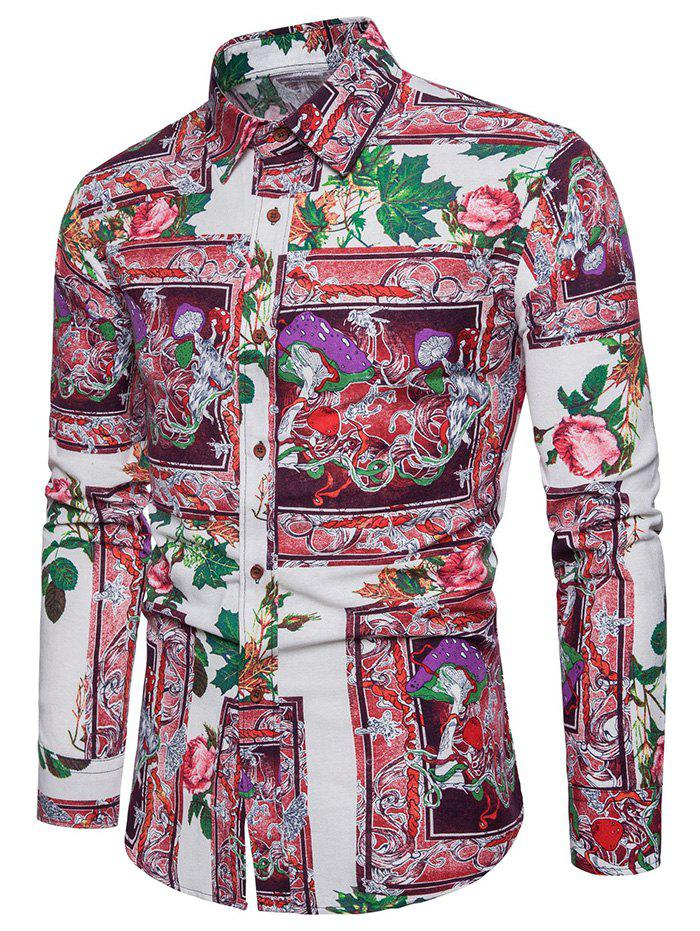 Fashion Flower Printing Long Sleeve Shirt