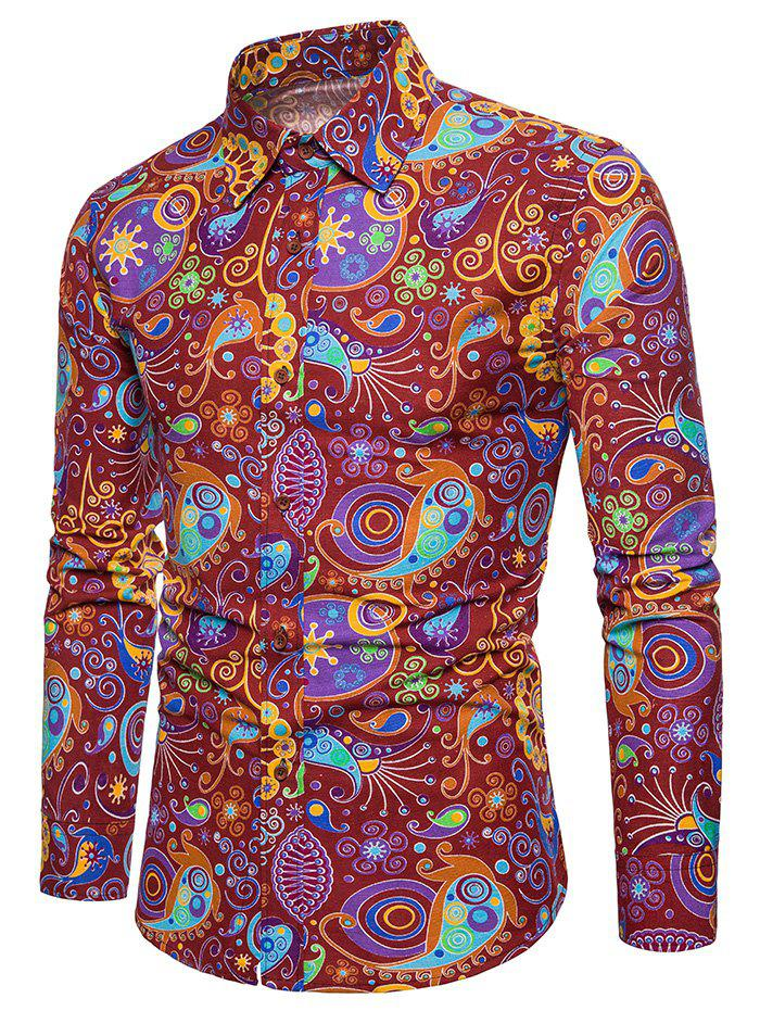 Fancy Allover Colorful Patterning Printed Long Sleeve Shirt