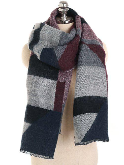 Best Color Splice Fringed Soft Scarf