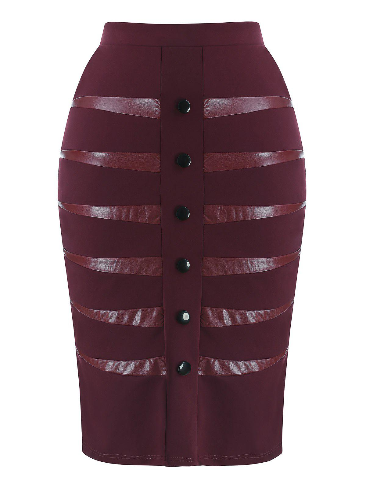 Buy Plus Size Faux Leather Insert Skirt