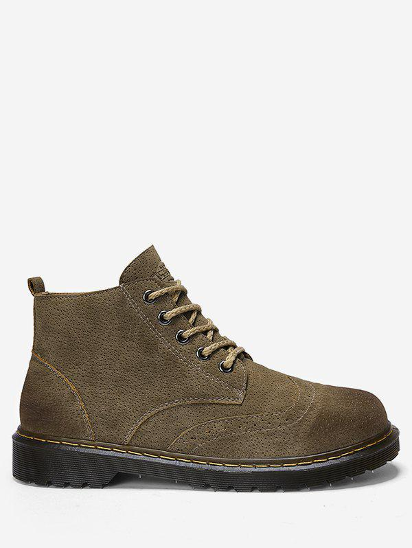 Discount Lace Up Suede Short Wing Tip Boots