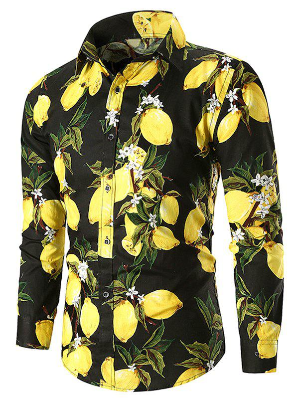 Discount Button Up Lemon Print Casual Shirt