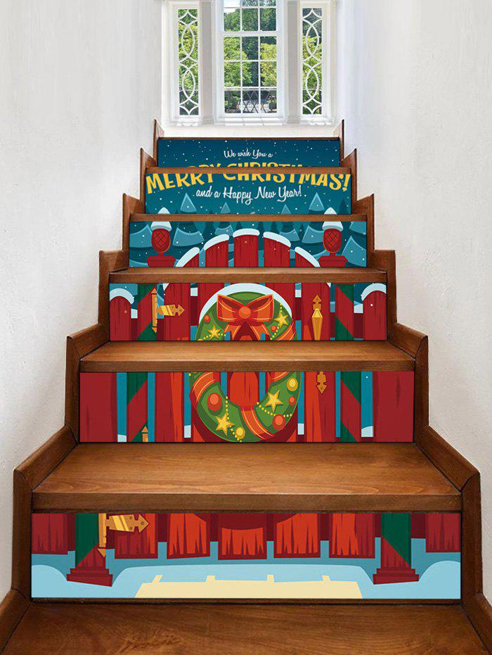 Sale Christmas Wood Railing and Wreath Print Removable Stair Stickers
