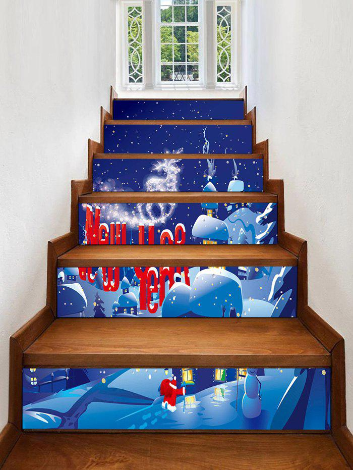 Fashion Christmas Village Snow Night Print Removable Stair Stickers