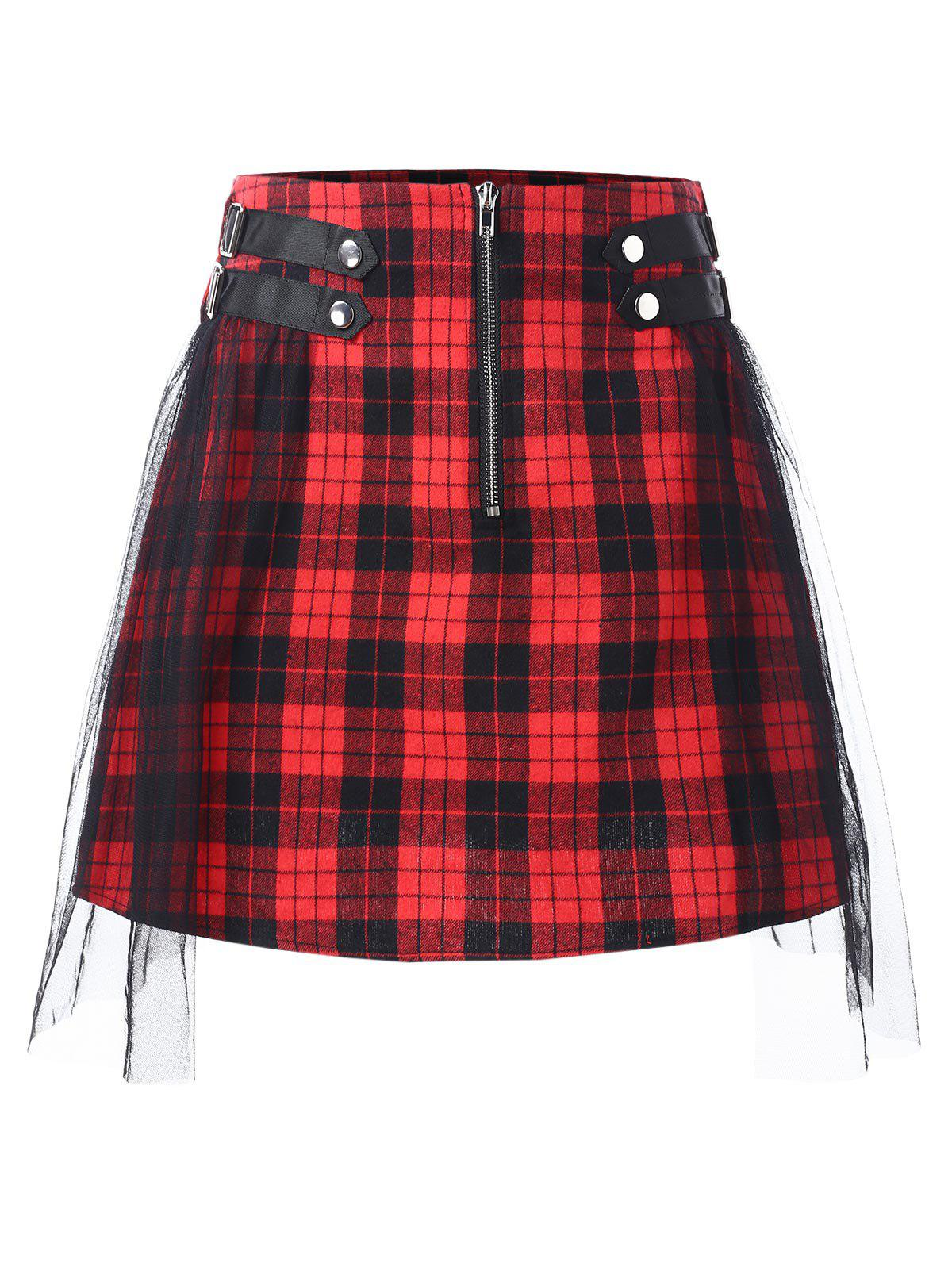 Outfit Mesh Panel Zip Waist Tartan Skirt