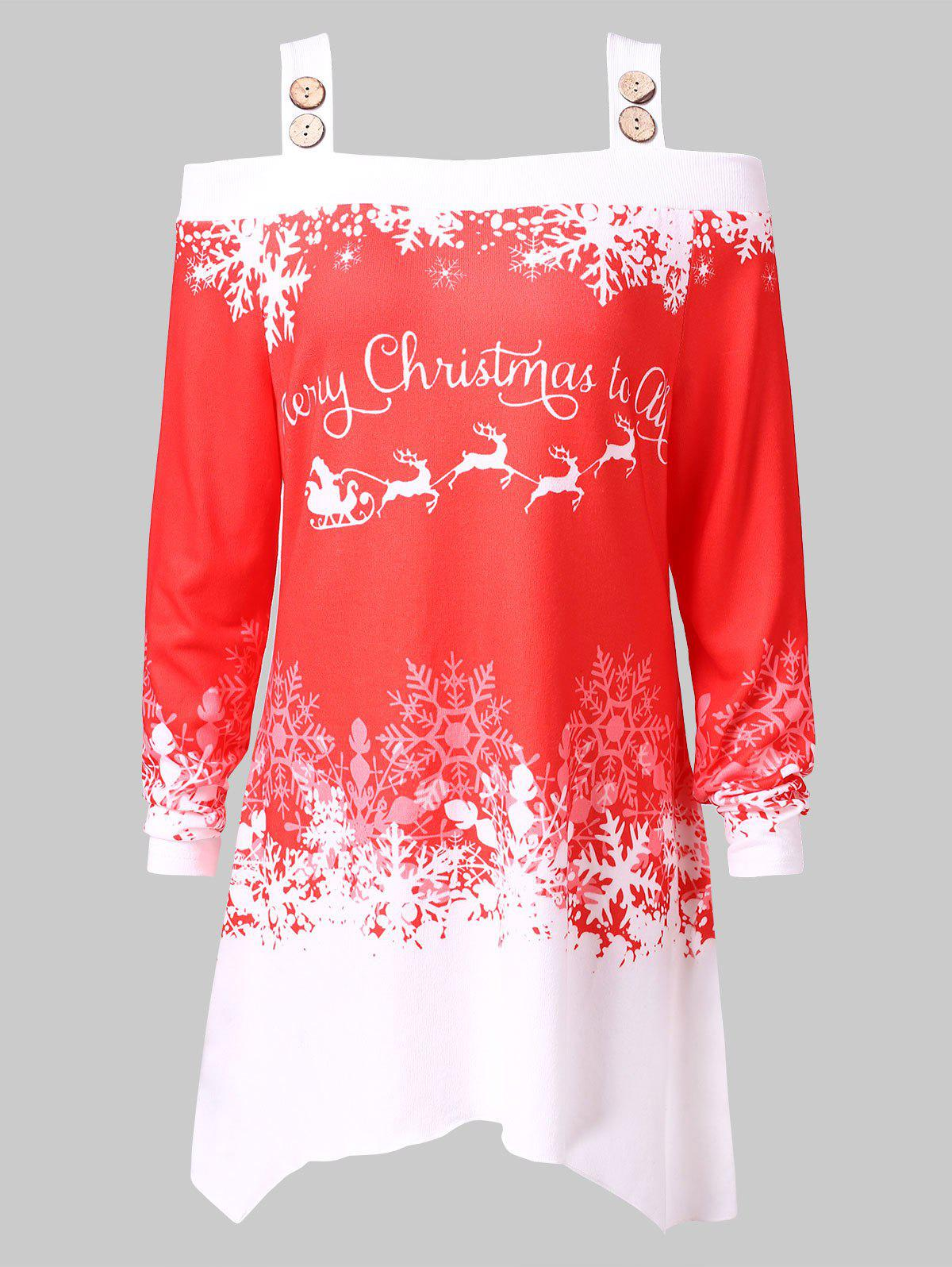 Online Plus Size Cold Shoulder Christmas Printed T-shirt