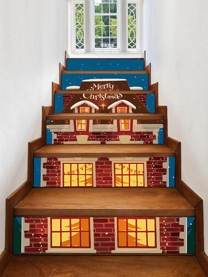 Unique Christmas Night Covered Snow House Print Decorative Stair Stickers