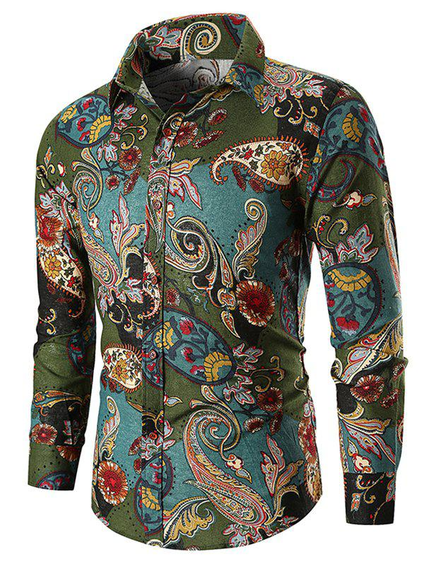Discount Ethnic Paisley Print Long Sleeve Shirt