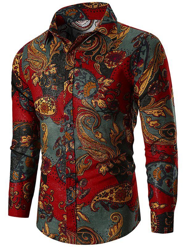 New Ethnic Paisley Print Long Sleeve Shirt