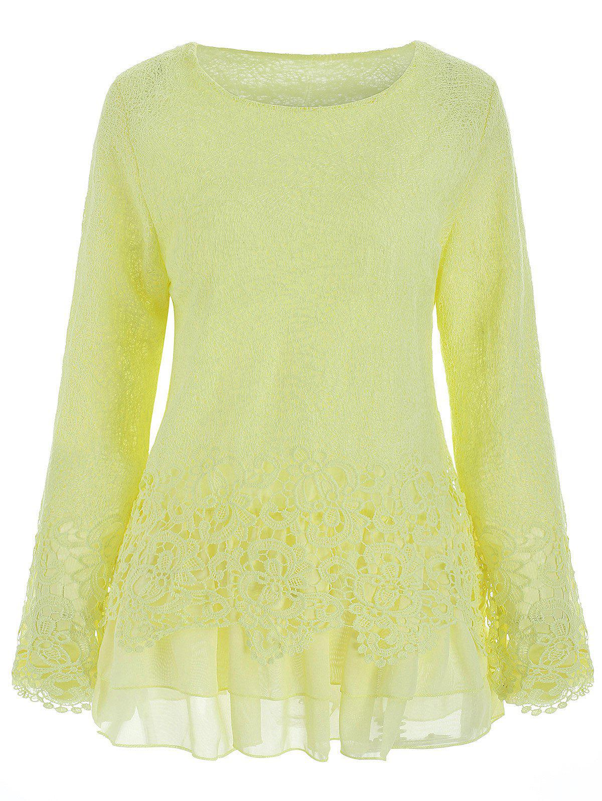 Latest Chic Round Collar Long Sleeve Lace Spliced Women's Blouse