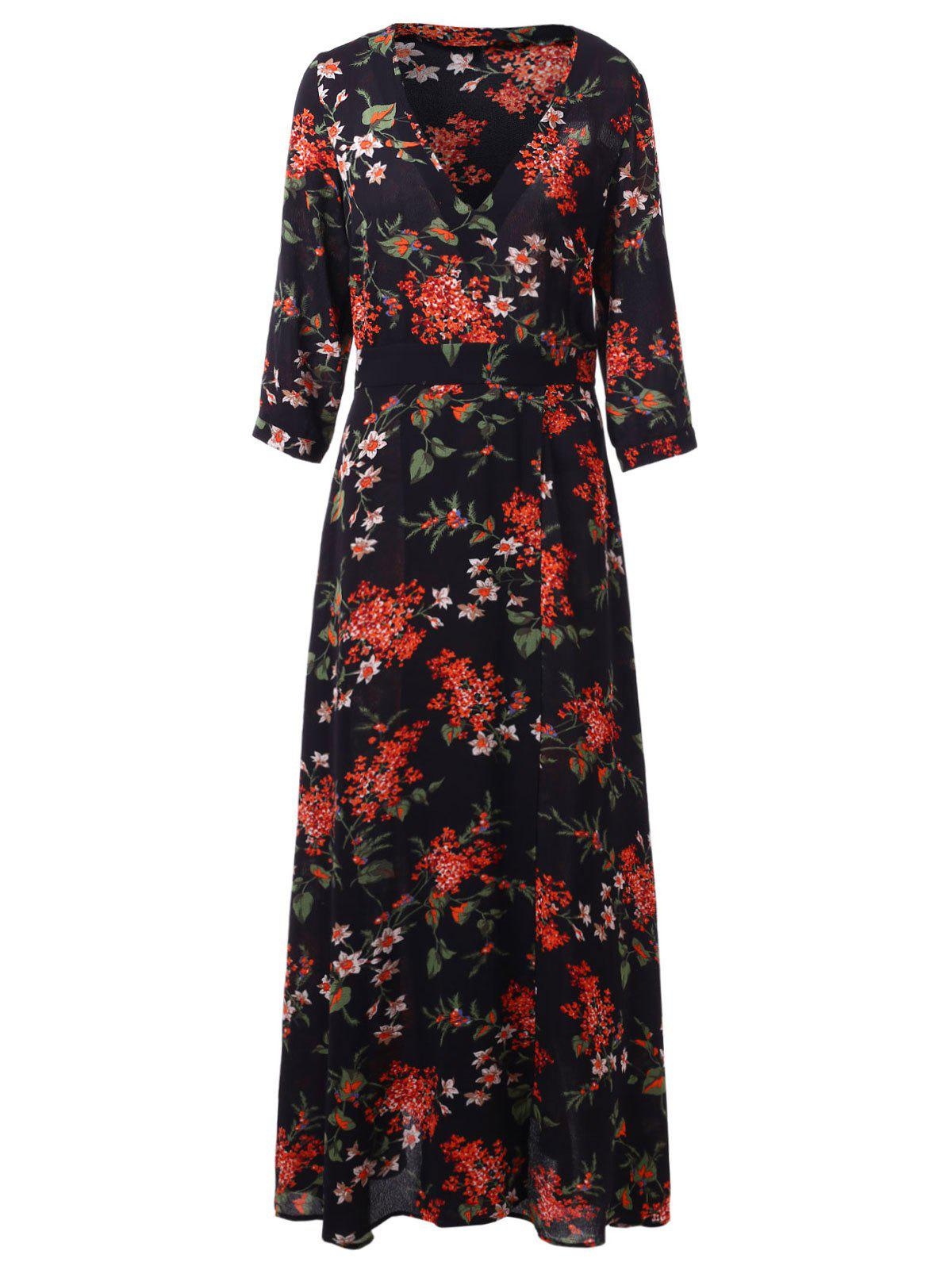 Best Floral Print Maxi Surplice Dress