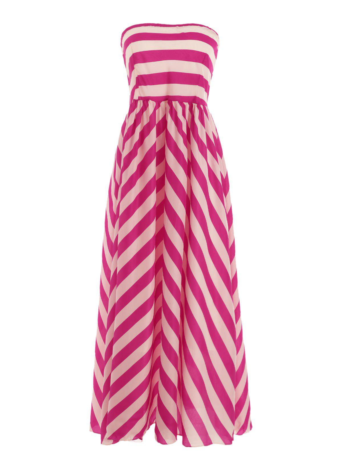 Hot Strapless Bandeau Striped Maxi Prom Party Dress
