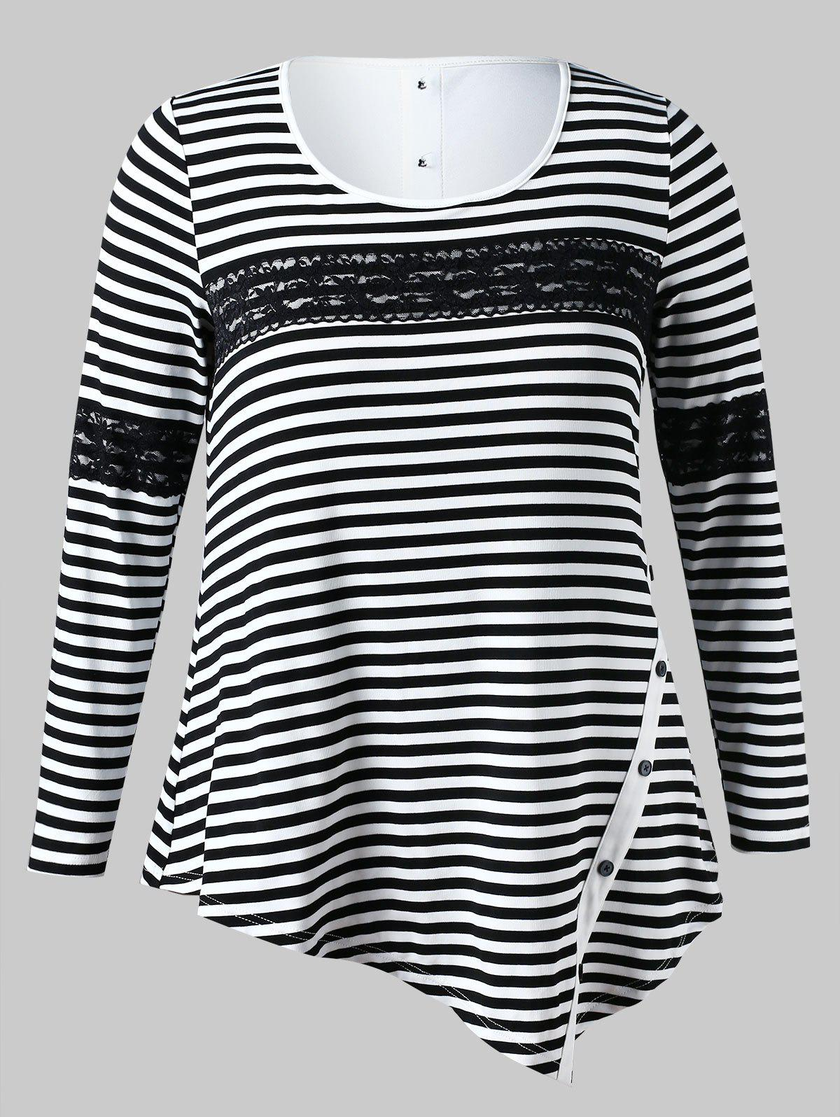 Outfit Plus Size Striped Asymmetrical Tee