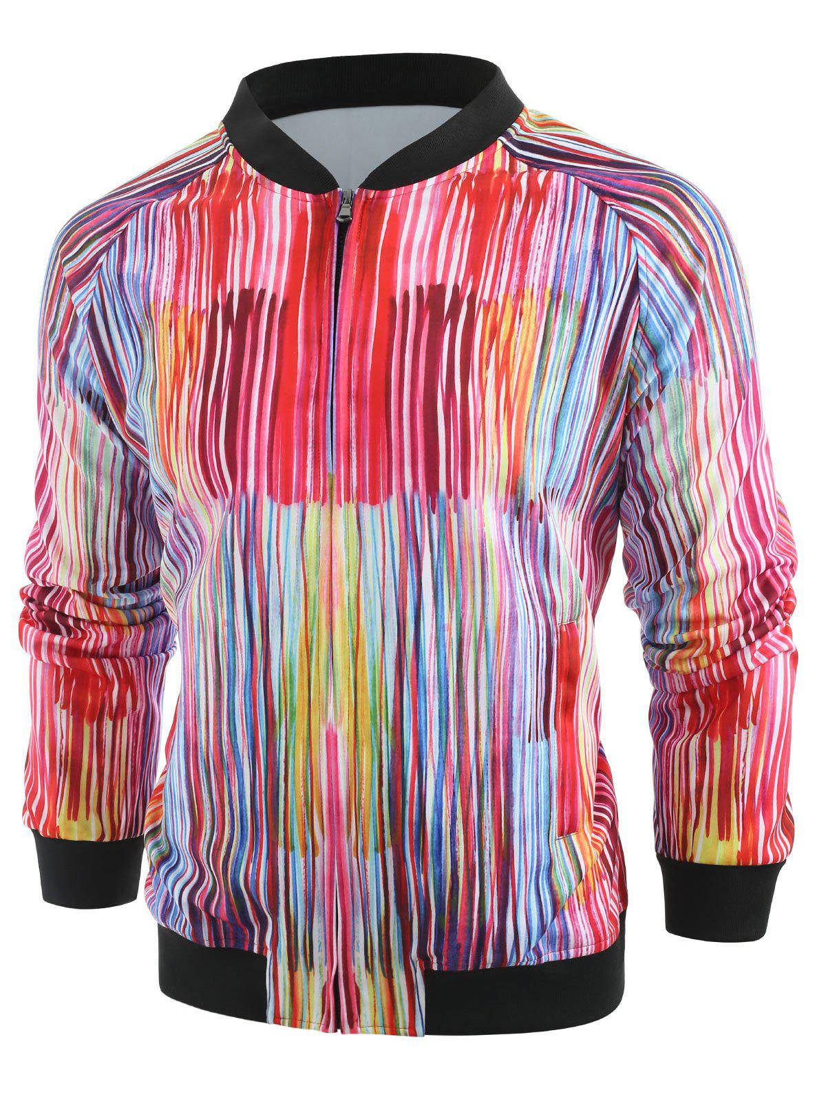 Fashion Colorful Line Print Zip Up Jacket