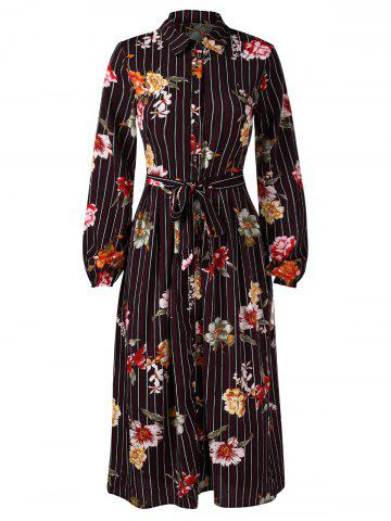 Floral Panel Stripe Print Long Sleeve Dress