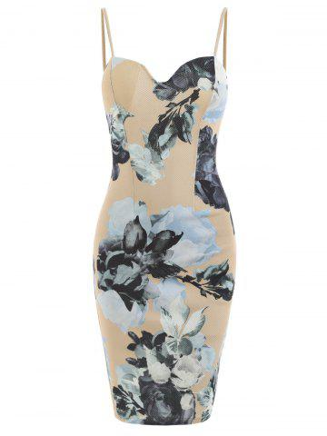 Spaghetti Strap Padded Floral Bodycon Dress